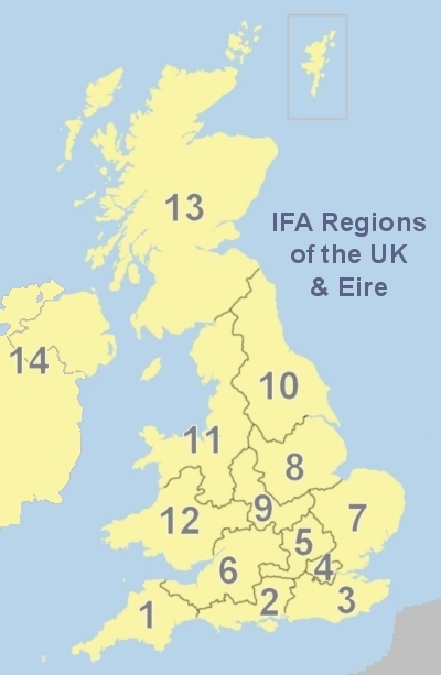 Map of UK regions of the International Feltmakers Association
