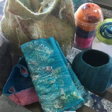 Items from a 3D workshop run by an International Feltmakers AssociationIFA member