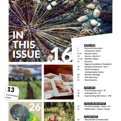 Feltmatters Issue 139 View of contents page - journal of the International Feltmakers Association