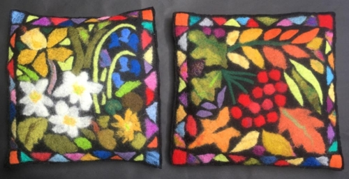 Spring and Autumn  - Pair of cushions